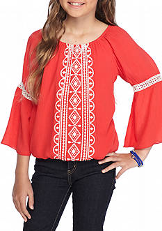 sequin hearts Bell Sleeve Peasant Top Girls 7-16