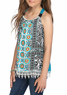 SEQUIN HEARTS girls Printed Pom Pom Tank Top Girls 7-16