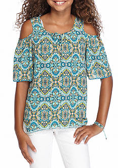sequin hearts Cold Shoulder Hanky Hem Top Girls 7-16