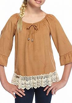 SEQUIN HEARTS girls Suede Bell Sleeve Crochet Top Girls 7-16