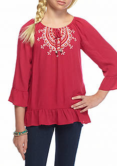 SEQUIN HEARTS girls Bel Sleeve Peasant Top Girls 7-16