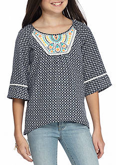 SEQUIN HEARTS girls Pattern and Embroidery Neck Top Girls 7-16