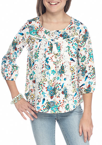 SEQUIN HEARTS girls Ivy Print Peasant Top Girls 7-16