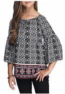 SEQUIN HEARTS girls Black and White Print Peasant