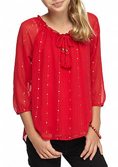 SEQUIN HEARTS girls Chiffon Tie Up Blouse Girls 7-16