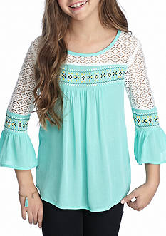 SEQUIN HEARTS girls Peasant Top Girls 7-16