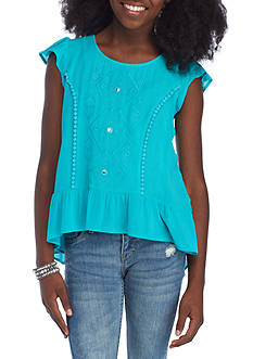 SEQUIN HEARTS girls Ruffle Trim Top Girls 7-16