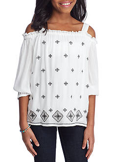 SEQUIN HEARTS girls Tribal Print Front Cold Shoulder Top Girls 7-16