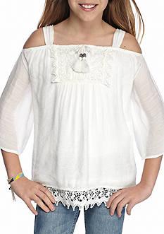 SEQUIN HEARTS girls Crochet Cold Shoulder Top Girls 7-16