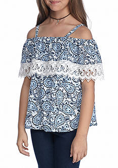 SEQUIN HEARTS girls Cold Shoulder Printed Top Girls 7-16