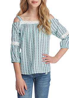 SEQUIN HEARTS girls Printed Cold Shoulder Top Girls 7-16