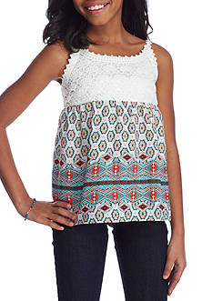 SEQUIN HEARTS girls Crochet Printed Tank Top Girls 7-16