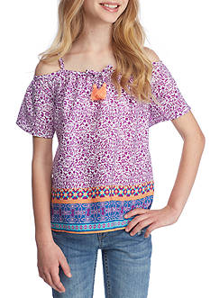 SEQUIN HEARTS girls Border Print Cold Shoulder Top Girls 7-16