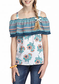 SEQUIN HEARTS girls Floral Off-the-Shoulder Top Girls 7-16