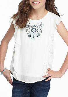 SEQUIN HEARTS girls Ruffle Sleeve Embroidered Top Girls 7-16