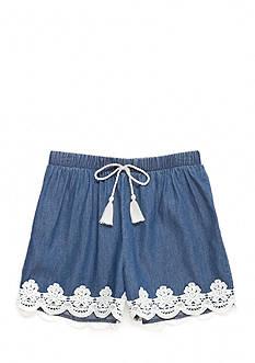 SEQUIN HEARTS girls Denim Crochet Soft Shorts Girls 7-16