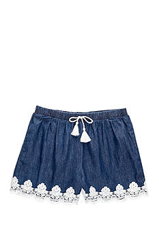 SEQUIN HEARTS girls Chambray Short Girls 7-16