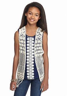 SEQUIN HEARTS girls Crochet Fringe Cozy Girls 7-16