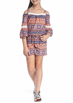 SEQUIN HEARTS girls Printed Cold Shoulder Romper Girls 7-16