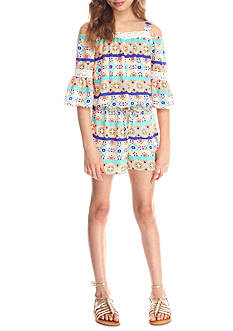 SEQUIN HEARTS girls Cold Shoulder Printed Romper Girls 7-16