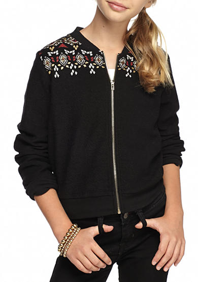 SEQUIN HEARTS girls Embroidery Bomber Jacket Girls 7-16