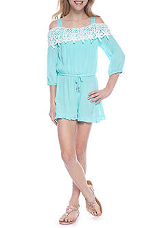 SEQUIN HEARTS girls Cold Shoulder Crochet Romper Girls 7-16