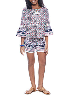SEQUIN HEARTS girls 2-Piece Border Print Top and Short Set Girls 7-16