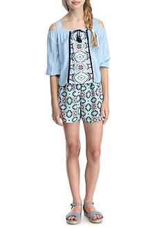 SEQUIN HEARTS girls Popover Romper Girls 7-16