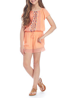 SEQUIN HEARTS girls Ruffle Sleeve Romper Girls 7-16