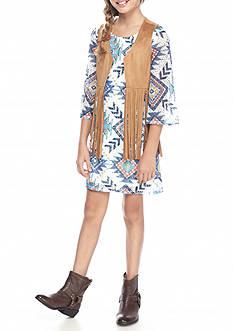 SEQUIN HEARTS girls Tribal Print Dress with Suede Fringe Vest Girls 7-16