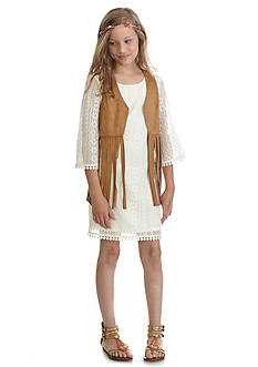 Sequin Hearts 2-Piece Crochet Dress and Fringe Vest Girls 7-16