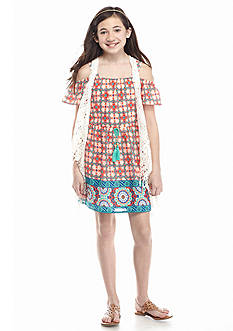 SEQUIN HEARTS girls 2-Piece Printed Cold Shoulder Dress and Crochet Vest Girls 7-16