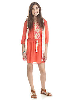 Sequin Hearts 2-Piece Embroidered Dress and Lace Vest Girls 7-16