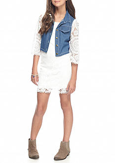 SEQUIN HEARTS girls Lace Dress with Cozy Denim Vest Girls 7-16