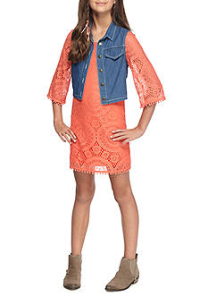 SEQUIN HEARTS girls Lace Dress with Cozy Denim Vest Girls 7-16