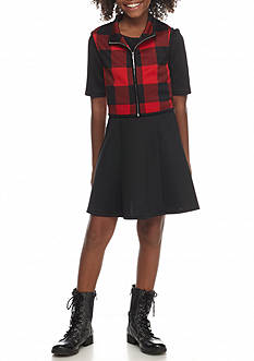 SEQUIN HEARTS girls Plaid Vest and Dress Set Girls 7-16