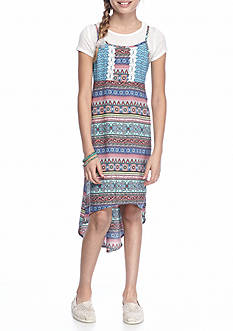 SEQUIN HEARTS girls 2-Piece Multi Print Dress With Slip Girls 7-16