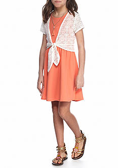 SEQUIN HEARTS girls 2-Piece Lace Cardigan And Skater Dress Girls 7-16