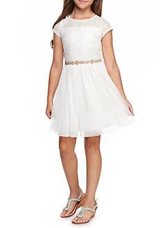 SEQUIN HEARTS girls Glitter Skirt Illusion Bodice Dress Girls 7-16