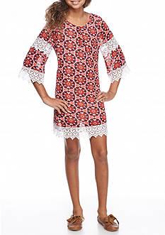 SEQUIN HEARTS girls Medallion and Crochet Detail Shift Dress Girls 7-16