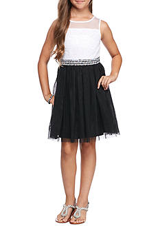 SEQUIN HEARTS girls Bodice Mesh Skirt Jeweled Waistline Dress Girls 7-16