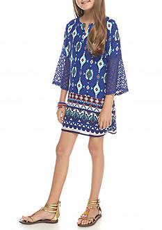 SEQUIN HEARTS girls Blue Print Shift Dress Girls 7-16