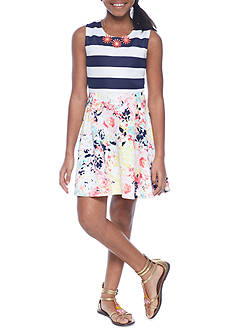 SEQUIN HEARTS girls Stripe and Floral Skater Dress Girls 7-16