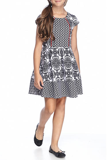 SEQUIN HEARTS girls Black and White Jacquard Dress Girls 7-16