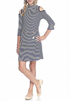 SEQUIN HEARTS girls Striped Cold Shoulder Dress Girls 7-16