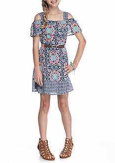 SEQUIN HEARTS girls Cold Shoulder Printed Dress Girls 7-16