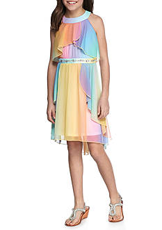 SEQUIN HEARTS girls Multi Ombre Halter Dress Girls 7-16