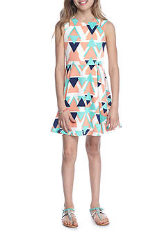 SEQUIN HEARTS girls Geo Print Skater Dress Girls 7-16