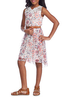 SEQUIN HEARTS girls Floral Belted Dress Girls 7-16