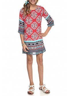 My Michelle Multi Border Shift Dress Girls 7-16